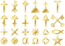 Christian religious symbols Gold. Christian religious symbols: A collection of  icons and symbols associated with the Christian faith isolated on white Royalty Free Stock Photography