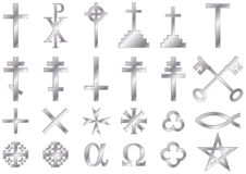 Christian religious symbols Silver. Christian religious symbols: A collection of  icons and symbols associated with the Christian faith isolated on white Royalty Free Stock Image
