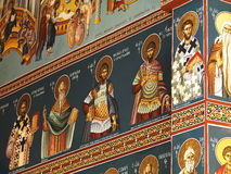 Christian saints. A detail of a christian painting in a greek church royalty free stock image