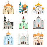 Christian sanctuary building icons Stock Image