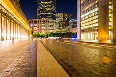 Christian Science Plaza at night, in Boston, Massachusetts. Royalty Free Stock Image