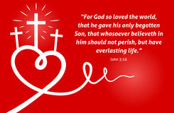 Christian scripture with abstract heart and cross on red background. Christian background with white abstract heart and cross/crucifix on red background design Royalty Free Stock Image