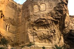 Christian shrines in Egypt. Bas-reliefs of biblical history. Giza Museum Complex, Egypt - 27 August 2017: Christian shrines in Egypt. Bas-reliefs of biblical Royalty Free Stock Images
