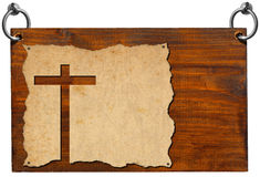 Christian Signboard - Parchment with Cross Royalty Free Stock Image