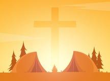 Christian summer camp. Evening Camping. Cross. Vector illustration. Royalty Free Stock Photo