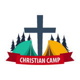 Christian summer camp. Evening Camping. Cross. Vector illustration. Stock Photography