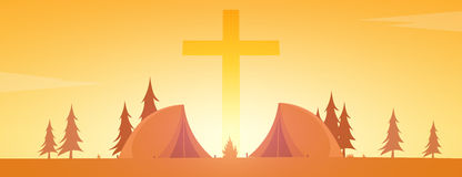 Christian summer camp. Evening Camping. Cross. Vector illustration. Stock Photo