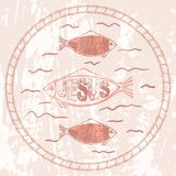 Christian symbol fish. The Christian fish symbol on textured background. Easter card, banner, element for your design Royalty Free Stock Photo