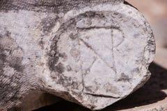 Christian Symbol i forntida sten Fotografering för Bildbyråer