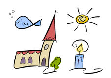 Christian symbol set for kids. Colorful cartoon (doodle) set of four illustrations related to religion and christianity, included are fish (ichthys), sun, church Royalty Free Stock Image