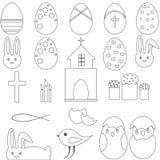 Christian Symbols Easter eggs il coniglietto Immagini Stock Libere da Diritti
