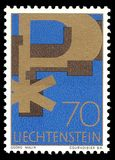 Christian symbols. Liechtenstein - stamp printed in1967, Memorable, Christian symbols Stock Images