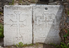 Christian Symbols at Philadelphia in Turkey. Christian crosses carved into stone panels at Philadelphia in Turkey Stock Photos