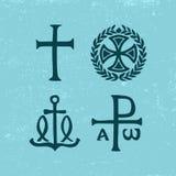 Christian Symbols y muestras antiguos stock de ilustración