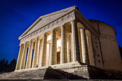 Christian temple by Antonio Canova. Roman and Greek religious architecture, building as pantheon and parthenon. Church in Italy. Stock Photo
