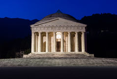 Christian temple by Antonio Canova. Roman and Greek religious architecture, building as pantheon and parthenon. Church in Italy. Royalty Free Stock Images