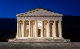 Christian temple by Antonio Canova. Roman and Greek religious architecture, building as pantheon and parthenon. Church in Italy. Stock Image