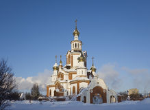 Christian temple in winter sunny day Stock Photos