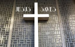 Christian temptation. Cross on the wall as symbol of the temptation of the faith in message of the Jesus Stock Images