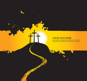 Christian themes with three crosses Stock Photos