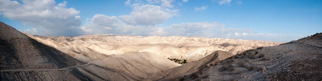 Christian travel in judean desert panorama Stock Image