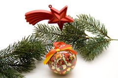 Christian tree ball. And star royalty free stock image
