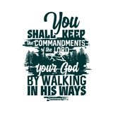 Christian typography and lettering. Biblical illustration. You shall keep the commandments of the Lord vector illustration