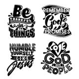 Christian typography and lettering. Illustration of the phrases of biblical motivation