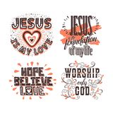 Christian typography and lettering. Illustrations of biblical phrases