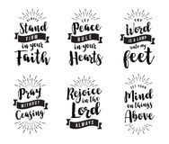 Christian Vector Biblical Emblem Set. Stand Firm in the Faith, Let Peace Rule in your Hearts, Thy Word is a Lamp unto my feet, Pray without ceasing, Rejoice in Stock Images