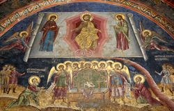 Christian Wall Painting. Depicting the story of Jesus judging the dead Royalty Free Stock Image