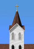 Christian white church steeple with cross  Royalty Free Stock Photography