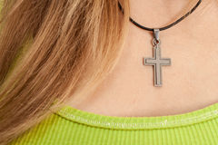 Christian woman with cross necklace Royalty Free Stock Photos