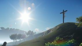 Christian woman praying at Jesus cross, panning. Hd video vector illustration