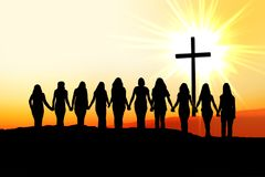 Christian women friendship silhouette. Royalty Free Stock Photo
