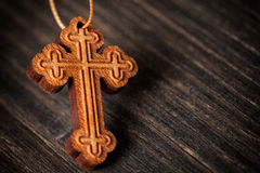 Christian wooden cross Stock Photo