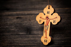 Christian wooden cross Stock Images