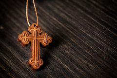Christian wooden cross Stock Image