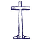 Christian wooden cross. Easter . symbol of Christianity hand drawn vector illustration sketch Stock Image