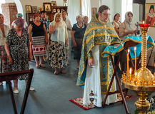 Christian worship on the day of the veneration of Saint Orthodox icon of the Kaluga mother of God in Iznoskovsky district, Kaluga. Region of Russia on 30 July royalty free stock photography