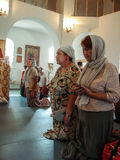 Christian worship on the day of the veneration of Saint Orthodox icon of the Kaluga mother of God in Iznoskovsky district, Kaluga. Region of Russia on 30 July stock photos