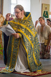 Christian worship on the day of the veneration of Saint Orthodox icon of the Kaluga mother of God in Iznoskovsky district, Kaluga. Region of Russia on 30 July royalty free stock photos