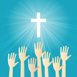 Christian Worship. Vector illustration of Christian worship with hands raising vector illustration