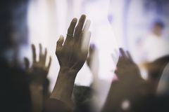 Free Christian Worship With Raised Hand Joyful In The Glory And Love Stock Photos - 118139723