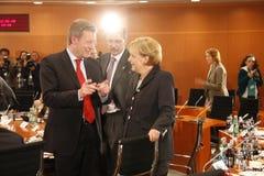 Christian Wulff, Chancellor Angela Merkel Stock Image