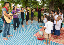 Christian Youth are singing. TAK THAILAND - SEP28 : Unidentified  Karen Christian Youth are singing religious content song for  Karen student at school in rural Stock Photos