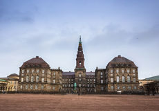 Christianborg palace in Copenhagen, Denmark. Beautiful square in european capital Copenhagen in winter Royalty Free Stock Images