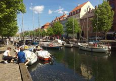 Christianhavn canal in Copenhagen, Denmark. On a sunny day royalty free stock photos