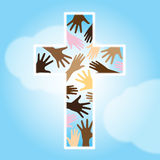 Christianity. Vector illustration of a cross with multi racial hands inside and white outline on blue heaven background symbolizing of Christian unity Vector Illustration