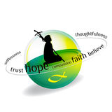 Christianity. Phrases that describe the essence of Christianity vector illustration